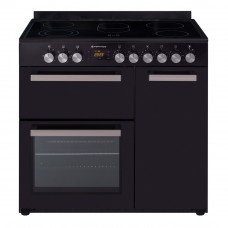 CS 900C-BLK 900mm Country Style Freestanding Ceramic Stove, 1 & 1/2 Ovens + Grill, Black