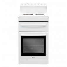 FS54R 540mm Freestanding Stove, Radiant Coil Cooktop, Electric Oven, White